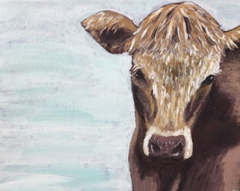 Goldie 16x20 acrylic cow painting