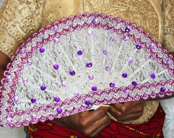 Custom Purple and Silver Traditional African Wedding Fan/Igbo/Yoruba/Edo/Benin/Ghana Wedding