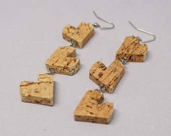 Upcycled 3 Tiered Heart Cork Earrings