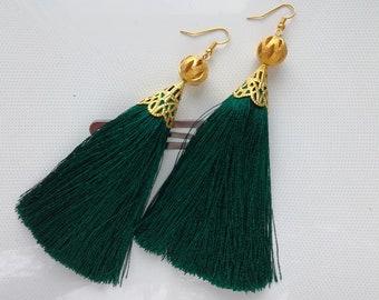 Earrings tassels, dark green earrings, fashion earrings with silk tassels, long earrings, earrings as a gift, Earrings of emerald color