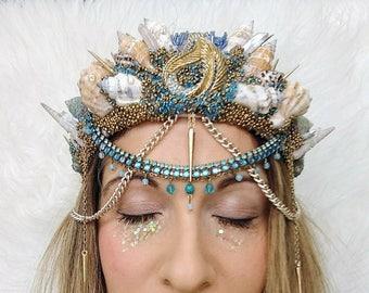 Mermaid crown, festival headdress, costume, headpiece, festival, headband,