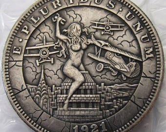 Morgan Dollar Hobo Nickel With The Woman At War fantasy copy coin 1921