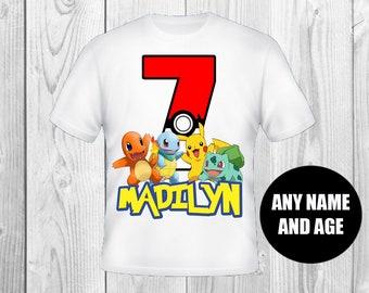 Custom pokemon birthday shirt boy or girl shirt
