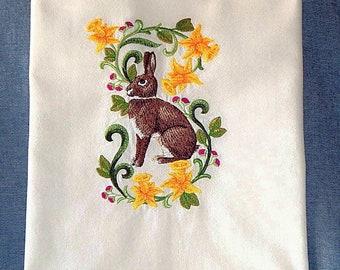 Easter Rabbit In Flowers-Britannia Petite Embroidered Flour Sack Kitchen Towel