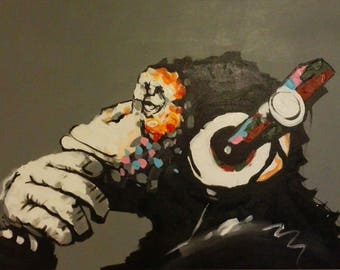 "Hand Painted Oil painting on canvas ""DJ MONKEY"" Reproduction"
