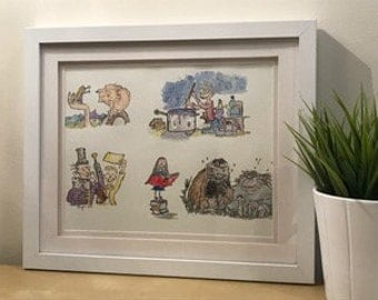 A collection of Roald Dahl characters - original illustration