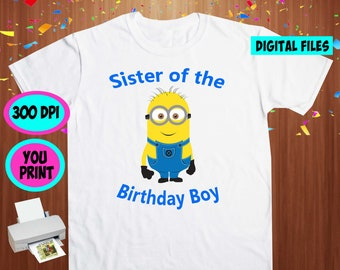 Minions. Iron On Transfer. Minions Printable DIY Transfer. Minions Sister Shirt DIY. Instant Download. Digital Files Only.
