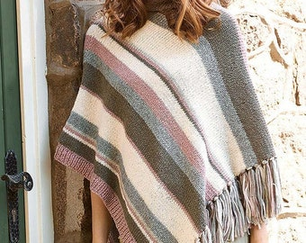"Hand knit ""striped poncho"" grey-rose-natural white"