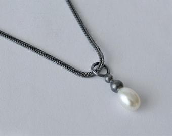 Black Sterling Silver Pearl Pendant