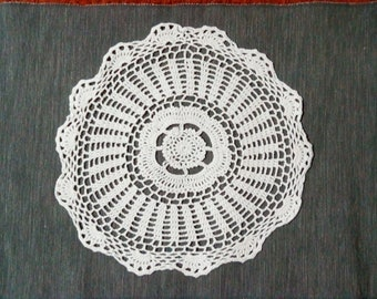 White Round Cotton Crochet Lace Doily. Shabby Chic of Doilies. Romantic Style of Lace Doilies. Home Decor.