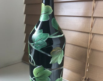 Hand painted Green Ivy Vine Glass Bottle