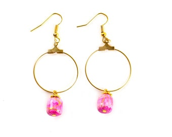 Earrings Gold and pink