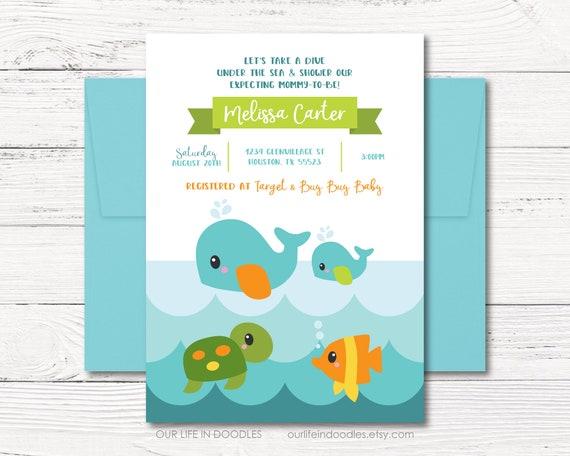 Ocean invitation baby shower invitation ocean sea baby shower il570xn filmwisefo
