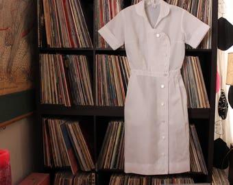 1960s vintage nurse dress uniform by Penneys, sheer water resistant dacron, womens xxs xs white dress