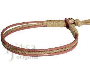 Dusty rose leather & hemp bracelet or anklet