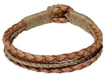 Braided Natural leather & natural hemp bracelet or anklet