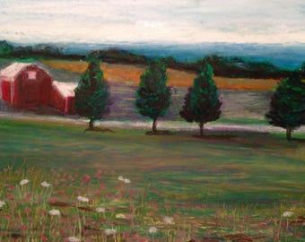 Red Barn, oil pastel, landscape