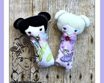 DOLL Girl Rattle Plush Toy  ~ In the Hoop ~ Downloadable DiGiTaL Machine Embroidery Design by Carrie