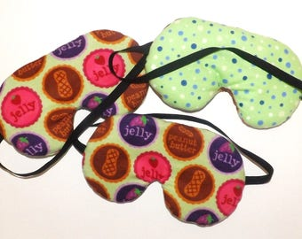 Sleep Mask -  Peanut Butter and Jelly - Reversible - Comes as Shown - Handmade - Fits Kids to Adults