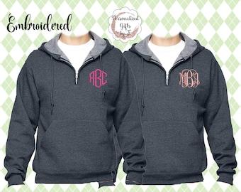 1/4 Zip Hooded Pullover, Monogrammed Big Little Shirt, Sorority Shirt, Quarter Zip Hoodie, Personalized Sweatshirt, Monogram Sweater