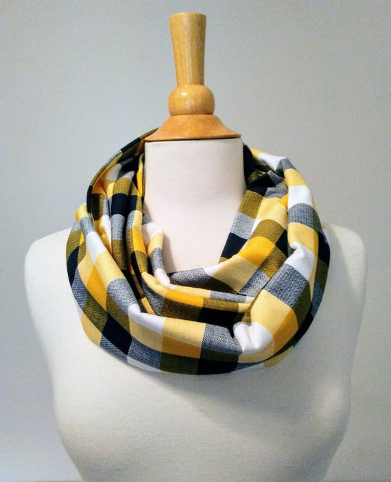 Buffalo plaid infinity scarf, Navy blue scarf yellow wrap scarf fall fashion accessory gift for her women's scarf circle scarf loop
