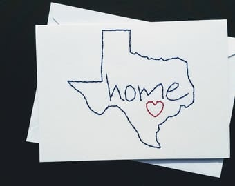 Texas  hand-embroidered card