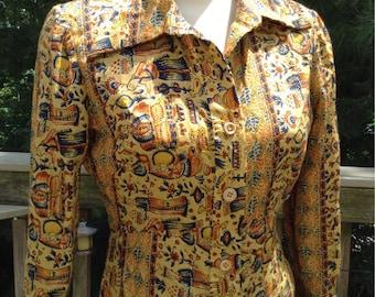 Vintage Tan India Print Cotton Shirt Dress