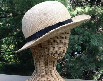 Vintage Halston Natural Straw Hat Small