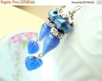 SALE Blue Leaf Earrings, Assemblage Jewelry, Woodland Earrings, Vintage Rhinestone Beaded Earrings, Handmade By KreatedByKelly
