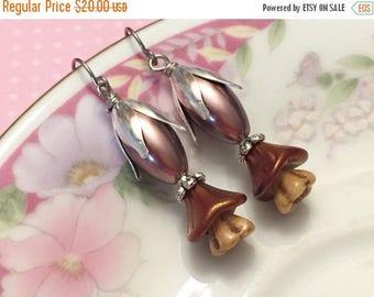 SALE Brown Pearl Earrings, Brown Flower Earrings, Czech Glass Flower Earrings, Brown Beaded Earrings, Handmade By KreatedByKelly