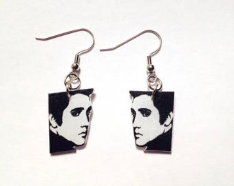 Handcrafted Plastic Elvis Presley Profile Side View Earrings Made in USA