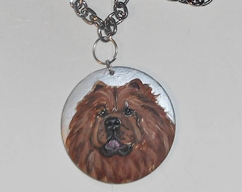 Red Chow Chow Dog Necklace Hand Painted Pendant
