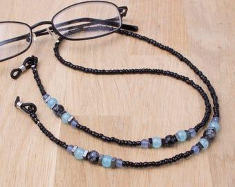 Glasses neck chain - Snowflake obsidian, hematite and blue bead eyeglasses cord | Black Eyeglasses chain | Gemstone eyewear accessories
