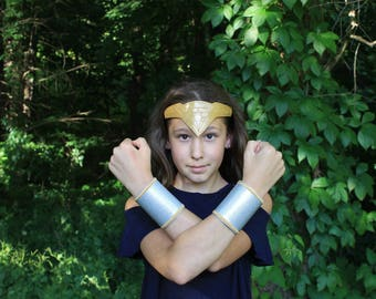 Wonder Woman Inspired Headpiece Tiara Crown Cuffs Belt Wonder Woman Costume for Children and Adults