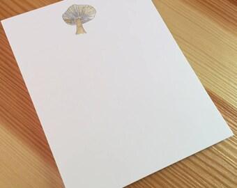 Mushroom Notepad - Small Watercolor Mushroom Notepad - 4 x 5 Handmade Mushroom Notepad - Gardener Gift - 40 Sheet Notepad