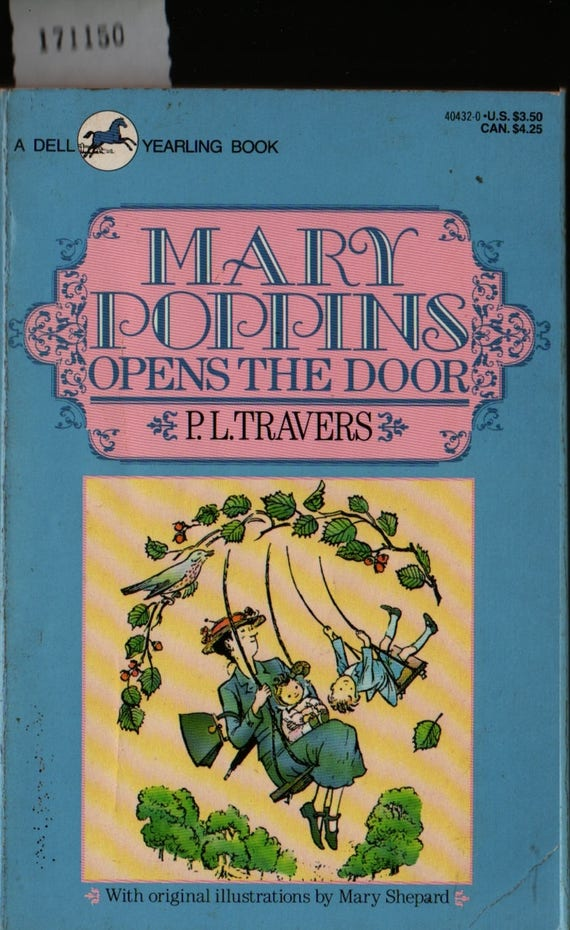 Mary Poppins Opens the Door - P. L. Travers - Mary Shepard - 1991 - Vintage Kids Book