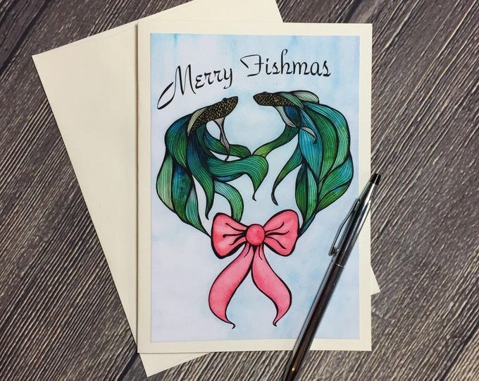 Featured listing image: Merry Fishmas Original Watercolor Print - Ivory Greeting Card