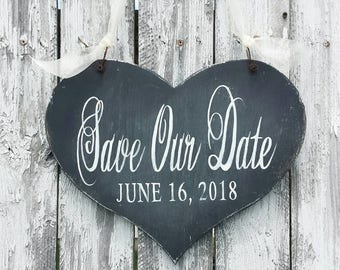 Save the Date Sign | Personalized Engaged Sign | Save The Date Idea | Save the Date Photo Prop | Rustic Wedding Sign |Chalkboard Sign |Heart