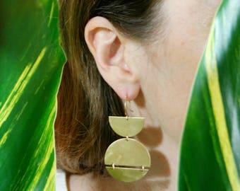 Statement Earrings, Bold Earrings, Geometric Shape Earrings, Brass, Sterling Silver Hooks, MERIDIAN