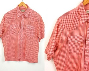 Vtg SHEPLERS red / white gingham pearl snap Western country Cowboy button down shirt mens sz L