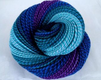 Handspun yarn, 18 micron merino, self striping yarn, merino yarn, light worsted yarn, blue, teal, water, rainbow, CHARYBDIS, 4oz, 175yds