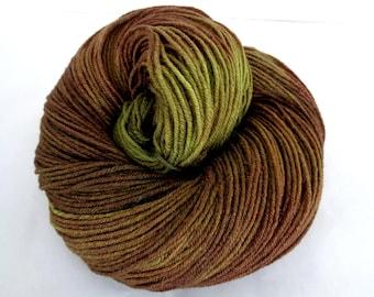 MUDDY MEADOW, merino silk yarn, hand dyed yarn, hand painted yarn, handpainted merino yarn, merino yarn, fingering weight yarn, 440yds