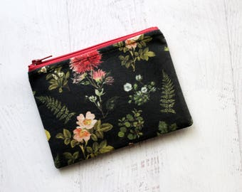 Pressed flowers bag - small zipper pouch - floral zippered bag - gifts for wife - black wallet  - floral change purse - nature lovers gifts