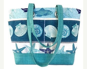 SALE large beach bag, tote, Beach theme, sea shells, fish, blue,  travel tote, waterproof, vacation bag, gift for women, gift for mom