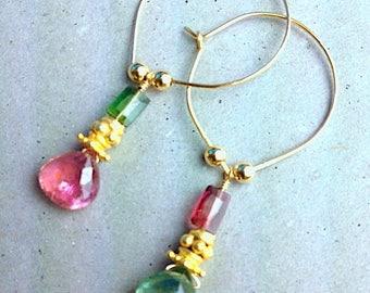 Tourmaline earrings, hoop earrings, bridesmaid earrings, lotus hoops, pink earrings, tourmaline, green earrings, October birthstone