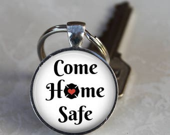 Come Home Safe - Fire or Police Department - Pendant, Necklace or Key Chain - Firefighter, Policeman, Policewoman