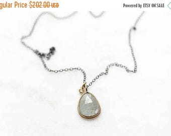 ON SALE 14k moss aquamarine and diamond necklace, mixed metals, oxidized sterling silver, green gemstone necklace