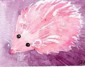 Original Pink Hedgehog on purple ACEO Watercolor Painting. Whimsical pink hedgehog artist trading card