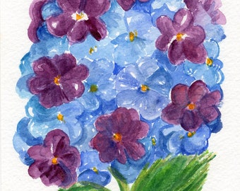Purple, Blue Hydrangeas watercolor painting original, 5 x 7, flower painting watercolor art, small watercolor flower art, hydrangea decor