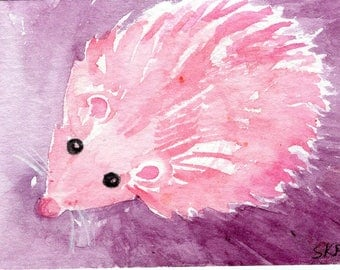 Original Pink Hedgehog on purple ACEO Watercolor Painting. Whimsical pink hedgehog artist trading card
